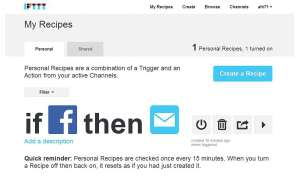 Screenshot My Recipes IFTTT