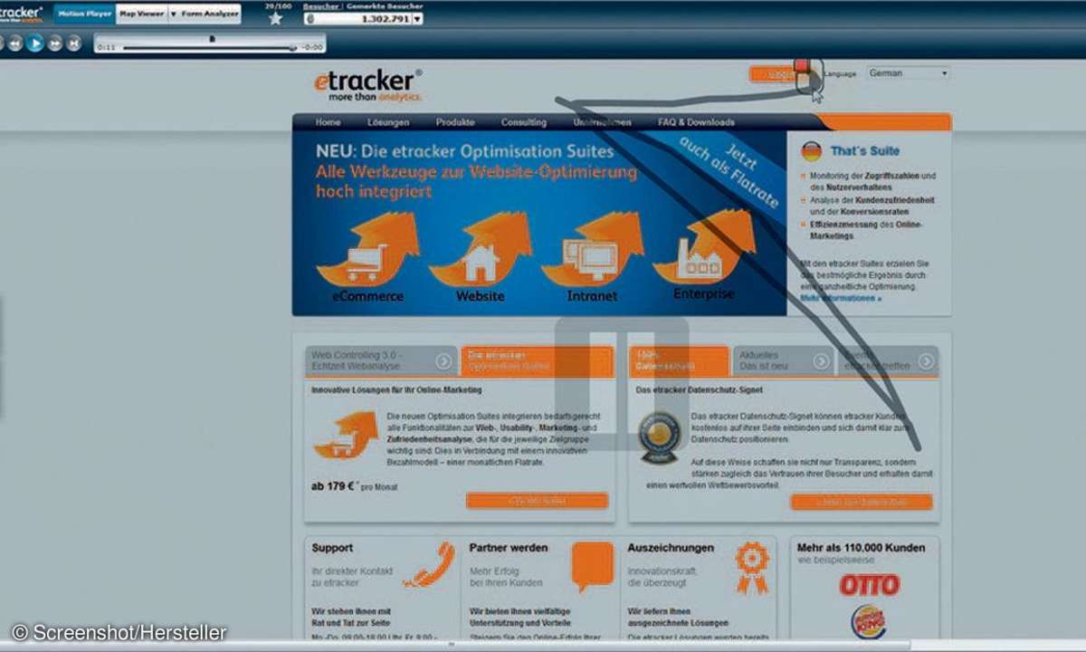 Formularseiten, Mouse-Tracking-System, Motion Player