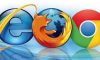 Logos der Browser Firefox, Chrome und Internet Explorer