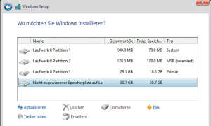 Screenshot: Wo möchten Sie Windows installieren?
