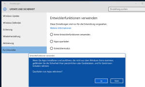 Windows 10 Sideloading für Universal Apps