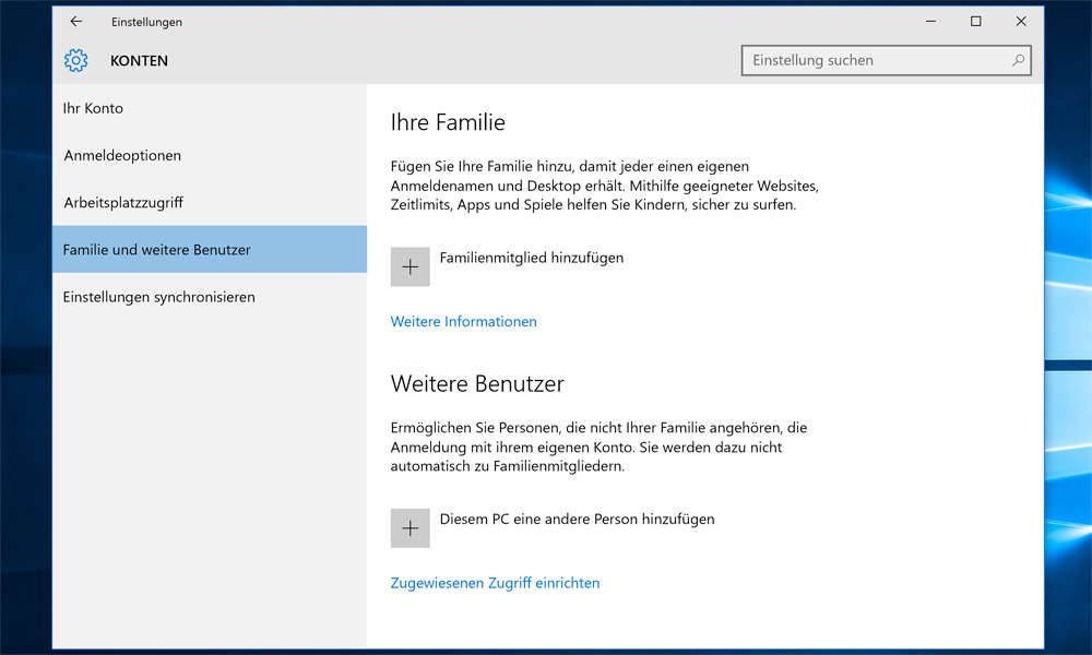 Windows 10 benutzerkonto fr kinder einrichten benutzerkonto screenshot windows 10 ccuart Image collections
