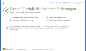 Upgrade Windows 10 Systemanforderungen