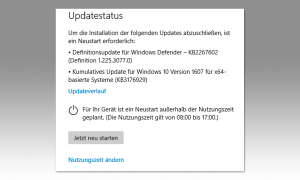 Screenshot: Updatestatus