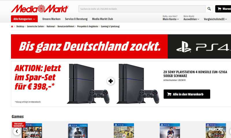 ps4 kaufen media markt angebot zwei konsolen f r 398. Black Bedroom Furniture Sets. Home Design Ideas