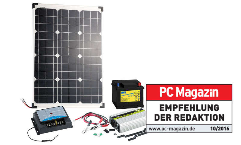revolt solarpanel 50w mit bleiakku laderegler und wechselrichter im test pc magazin. Black Bedroom Furniture Sets. Home Design Ideas