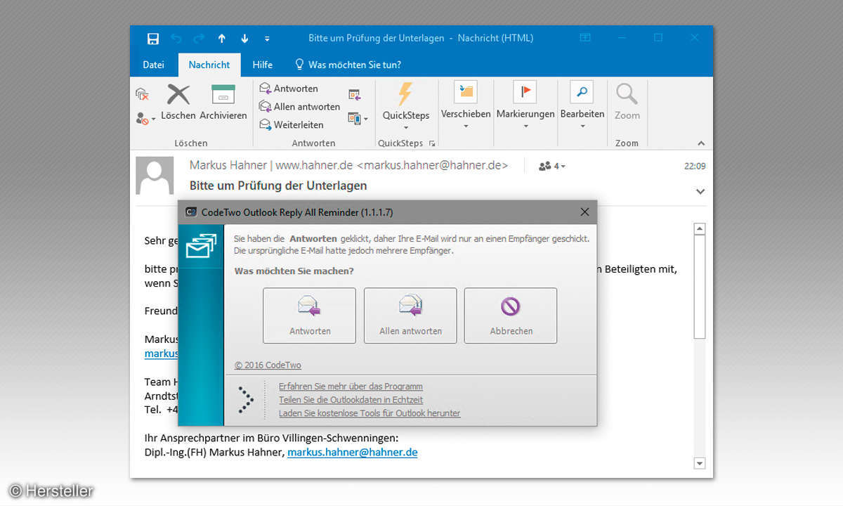 Outlook-Add-In Reply All Reminder