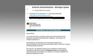 Meltdown & Spectre: BSI warnt vor Spam-Mail