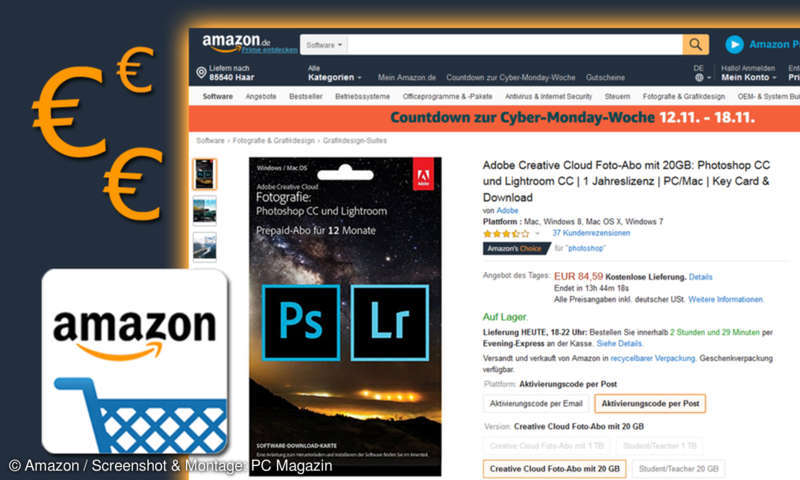 a31b79ccee12 Amazon Angebot: Photoshop CC und Lightroom CC für 85 Euro - PC Magazin