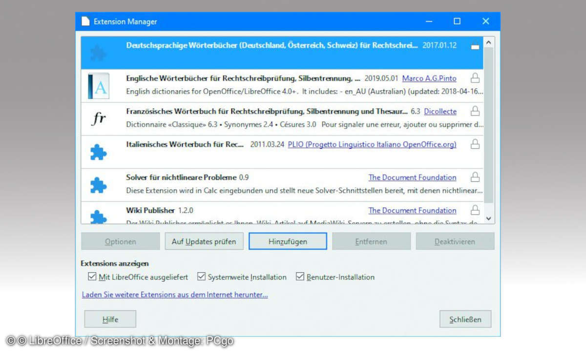 LibreOffice Extensionmanager