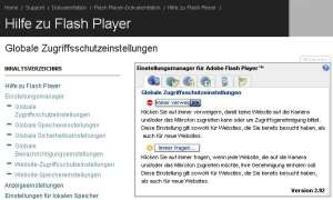 Flash-Cookies Einstellungsmanager