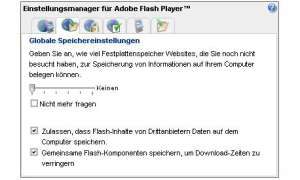 Flash-Cookies: Globale Speichereinstellungen