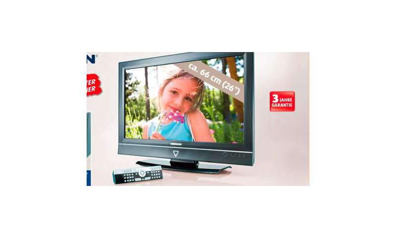 lcd fernseher mit 26 zoll bei hofer f r 300 euro pc magazin. Black Bedroom Furniture Sets. Home Design Ideas
