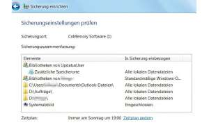 Screenshot Sicherung einrichten, Windows 7