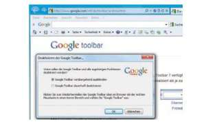 Deinstallation, Google Toolbar, Google-Eingabefenster