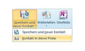 Outlook 2010, Firmenkontakt