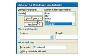 Dropdown-Formularfelder