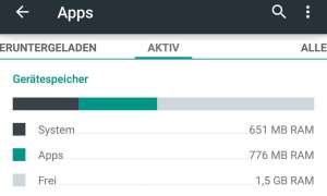 Android App Speicher