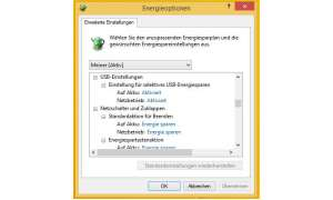 Windows-Energieeinstellungen als Screenshot