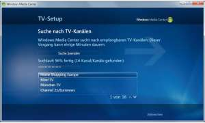Installationsassistent im Windows Media Center