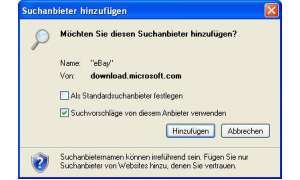 Internet Explorer 8: Suchanbieter