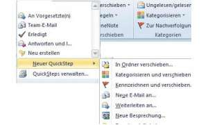 QuickSteps für Outlook 2010