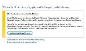Windows Media Player: Streaming aktivieren