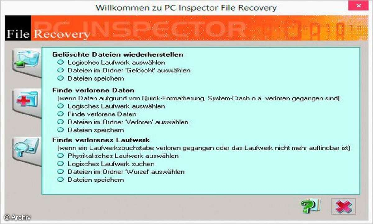 filerecovery, pc inspector file recovery, dateirettung