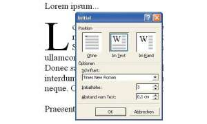 Schriftoptionen in Word